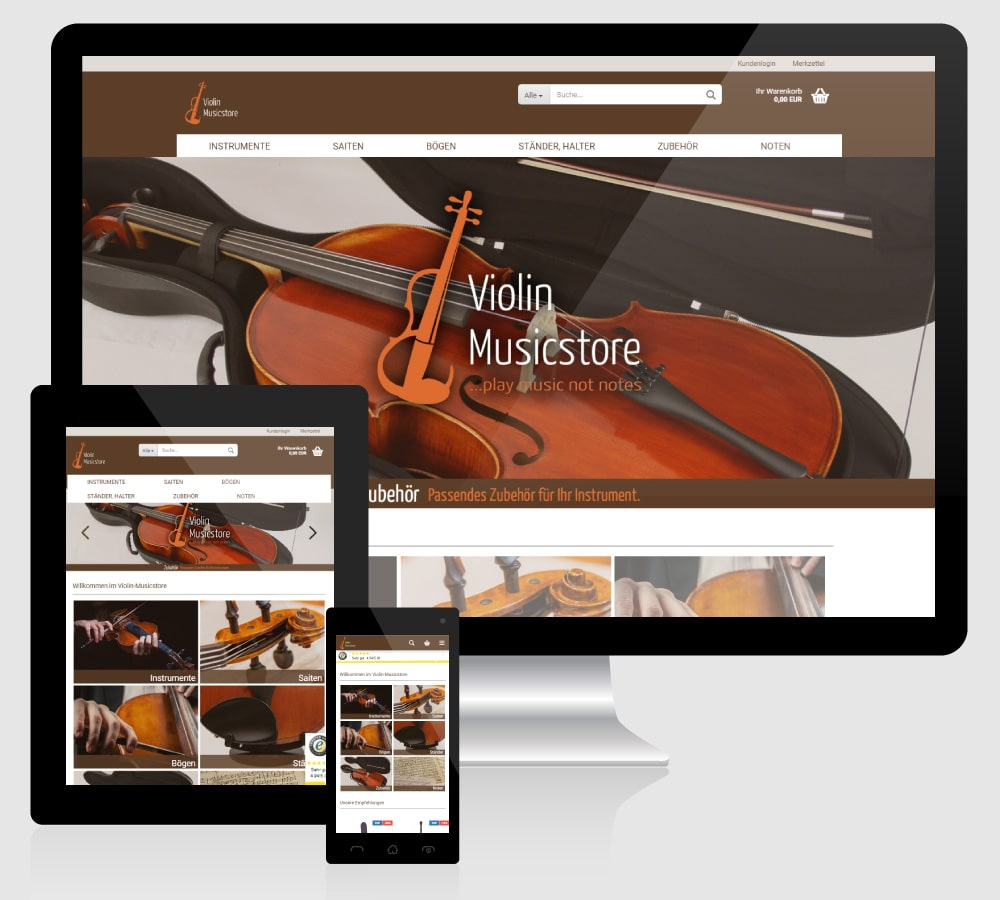 Violin Musicstore - Webdesign Relaunch: Responsive Online Shop für Violin Musicstore, Mainz [Gambio GX3, HTML, CSS, PHP, JS, Smarty / Fotografie]